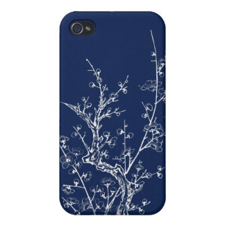 Japanese Wild Blossoms Inverted Blue Covers For iPhone 4