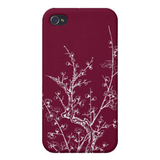 Japanese Wild Blossoms Inverted Purple Cases For iPhone 4