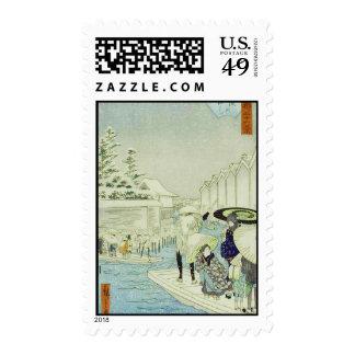 Japanese Winter on Water Woodblock Art Ukiyo-E Postage