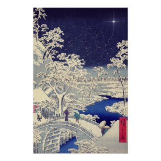 Japanese winter scene painting print