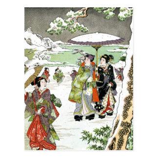 Japanese Winter Scene Postcard