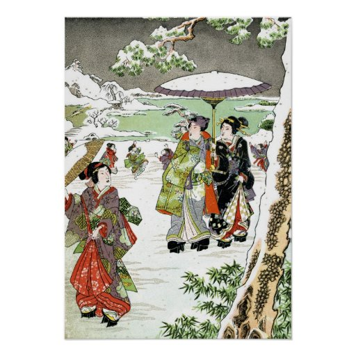 Japanese Winter Scene Posters