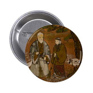 Japanese Wise Old man and Lady Button