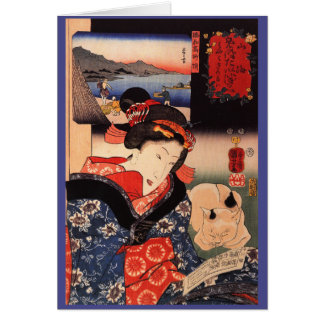 Japanese Woman and Cat Card
