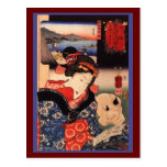 Japanese Woman and Cat Postcards