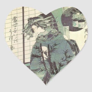 JAPANESE WOMAN, BAMBOO HEART STICKER