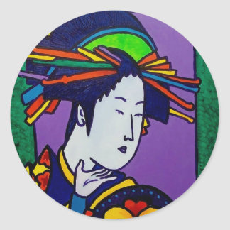 Japanese Woman by Piliero Classic Round Sticker