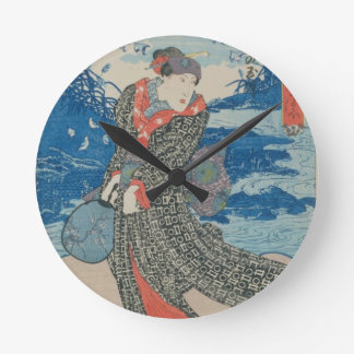Japanese woman by the sea (colour woodblock print) round clock