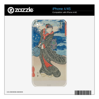 Japanese woman by the sea (colour woodblock print) iPhone 4 decal