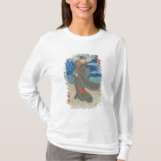 Japanese woman by the sea (colour woodblock print) T-Shirt