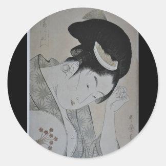 Japanese Woman Circa 1793-1794 Classic Round Sticker