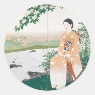 japanese woman classic round sticker