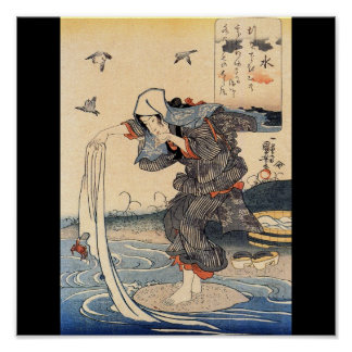 Japanese Woman doing laundry in river c. 1800's Poster