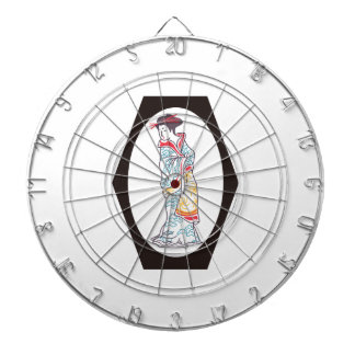 JAPANESE WOMAN FRAMED DARTBOARD WITH DARTS