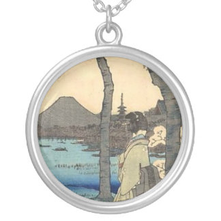 Japanese Woman gazing at Mt. Fuji Silver Plated Necklace
