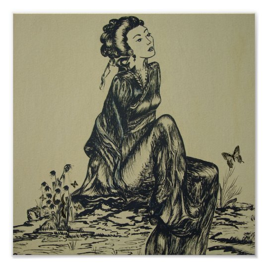 Japanese Woman Geisha Drawing Pen And Ink Poster
