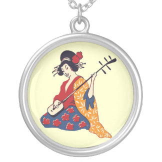 Japanese Woman Geisha Girl in Kimono Round Pendant Necklace