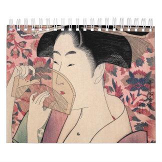 Japanese Woman Holding a Comb, Kitagawa Utamaro Calendar