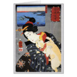 Japanese Woman Holding Cat Card