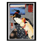 Japanese Woman Holding Cat Post Card