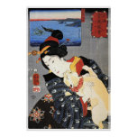 Japanese Woman Holding Cat Poster