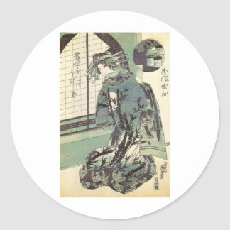 Japanese Woman in beautiful Kimono circa 1820 Classic Round Sticker