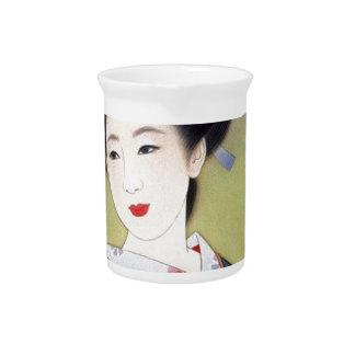 Japanese woman in blue kimono beverage pitcher