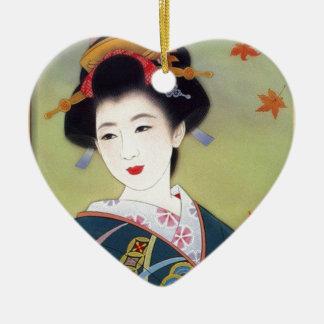 Japanese woman in blue kimono ceramic ornament
