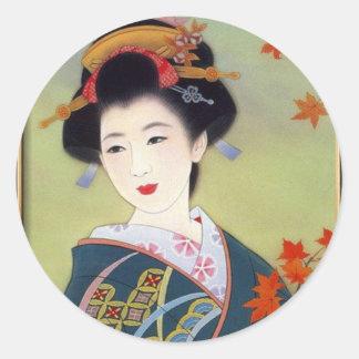 Japanese woman in blue kimono classic round sticker