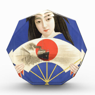 Japanese woman in blue kimono holding a fan acrylic award