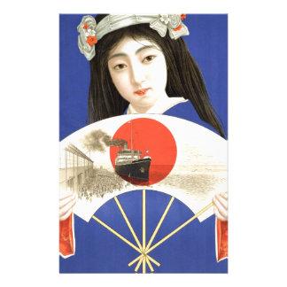 Japanese woman in blue kimono holding a fan stationery