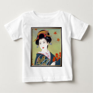 Japanese woman in blue kimono infant t-shirt