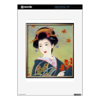 Japanese woman in blue kimono iPad skins