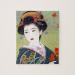 """Japanese woman in blue kimono jigsaw puzzle<br><div class=""""desc"""">Japanese woman in blue kimono</div>"""