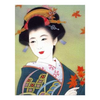 Japanese woman in blue kimono letterhead