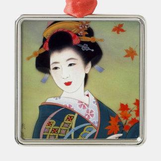 Japanese woman in blue kimono metal ornament