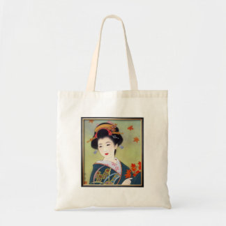 Japanese woman in blue kimono tote bag