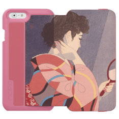 Japanese Woman In Kimono Holding A Hand Mirror Iphone 6/6s Wallet Case at Zazzle