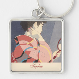 Japanese Woman in Kimono Holding A Hand Mirror Silver-Colored Square Keychain