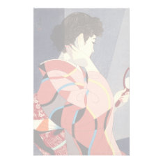 Japanese Woman In Kimono Holding A Hand Mirror Stationery at Zazzle