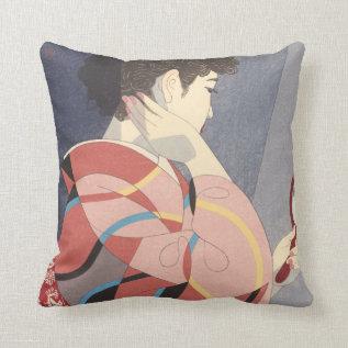 Japanese Woman In Kimono Holding A Hand Mirror Throw Pillow at Zazzle