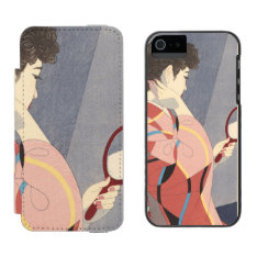 Japanese Woman In Kimono Holding A Hand Mirror Wallet Case For Iphone Se/5/5s at Zazzle