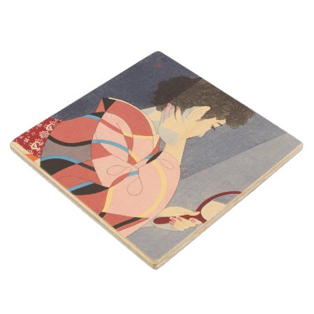 Japanese Woman In Kimono Holding A Hand Mirror Wooden Coaster