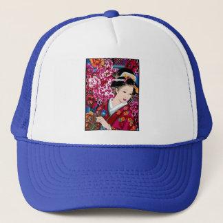 Japanese Woman in Kimono Trucker Hat