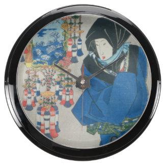 Japanese Woman in the Snow (colour woodblock print Aqua Clocks