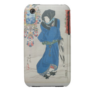 Japanese Woman in the Snow (colour woodblock print iPhone 3 Case