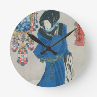 Japanese Woman in the Snow (colour woodblock print Round Clocks