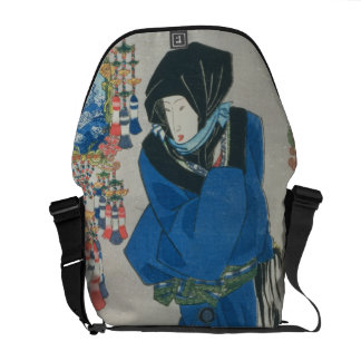 Japanese Woman in the Snow (colour woodblock print Messenger Bag