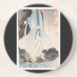 Japanese Woman in Waterfall, Ancient Japanese Art Coasters