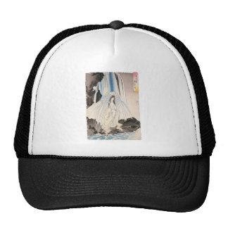 Japanese Woman in Waterfall, Ancient Japanese Art Hat